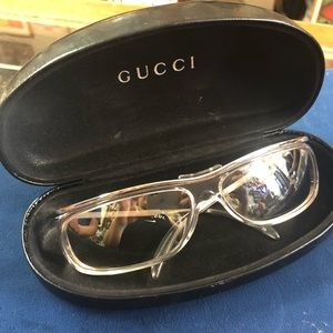Authentic Gucci transparent silver sunglasses